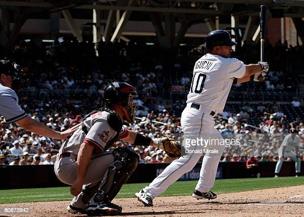 Tadahito Iguchi of the San Diego Padres at bat against the Arizona Diamondbacks during their MLB game on April 26 2008 at Petco Park in San Diego...