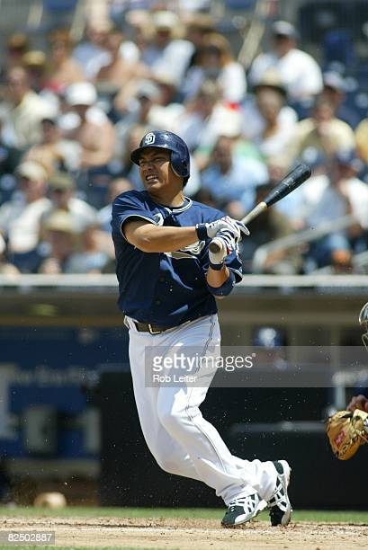 Tadahito Iguchi of the San Diego Padres bats during the game against the Milwaukee Brewers at Petco Park in San Diego California on August 14 2008...