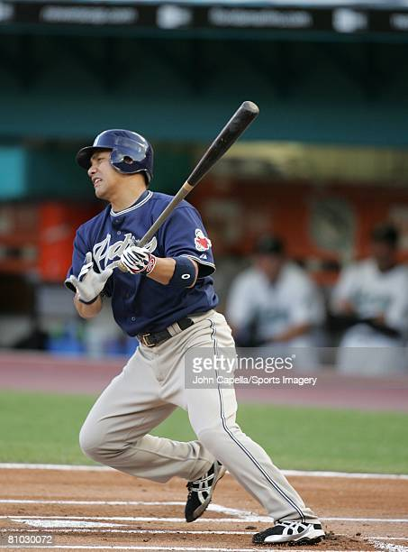 Tadahito Iguchi of the San Diego Padres bats during the MLB game against the Florida Marlins at Dolphin Stadium on May 3 2008 in Miami Florida