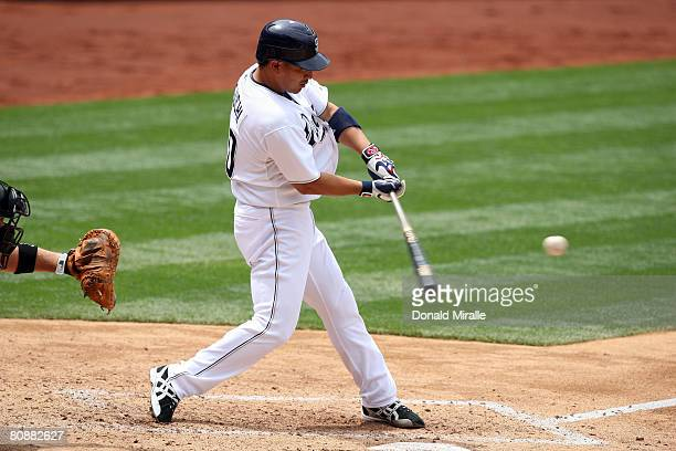 Tadahito Iguchi of the San Diego Padres connects for a hit against the Arizona Diamondbacks during the MLB game on April 27 2008 at Petco Park in San...