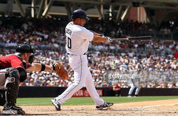 Tadahito Iguchi of the San Diego Padresconnects for a hit against the Arizona Diamondbacks during the MLB game on April 27 2008 at Petco Park in San...