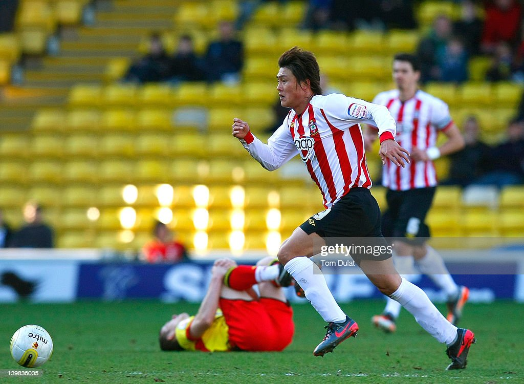 Tadanari Lee of Southampton in action during the npower Championship match between Watford and Southampton at Vicarage Road on February 25, 2012 in Watford, England.