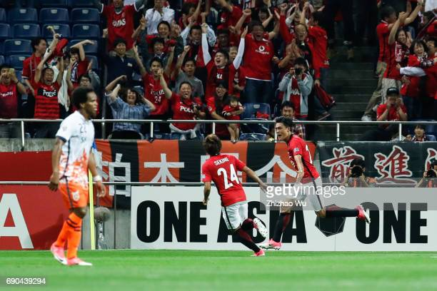 Tadanari Lee of Urawa Reds Diamonds celebrates his scoring during the AFC Champions League Round of 16 match between Urawa Red Diamonds and Jeju...