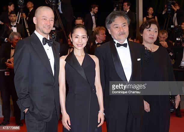 Tadanobu Asano Eri Fukatsu Kiyoshi Kurosawa and guest attend 'Kishibe No Tabi' Premiere during the 68th annual Cannes Film Festival on May 17 2015 in...