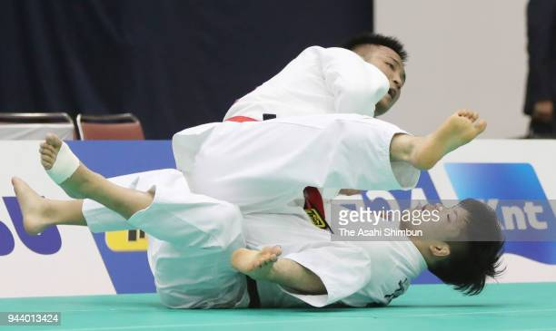 Tadashi Ebinuma throws Shohei Ono in the Men's 73kg semifinal on day one of the All Japan Judo Championships by Weight Category at Fukuoka Convention...