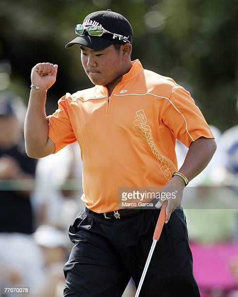 Tadd Fujikawa reacts to a birdie putt on the 3rd green during the third round of the Sony Open in Hawaii held at Waialae Country Club in Honolulu,...