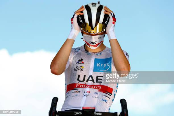 Tadej Pogačar of Slovenia and UAE-Team Emirates White Best Young Rider Jersey at start during the 108th Tour de France 2021, Stage 6 a 160,6km stage...
