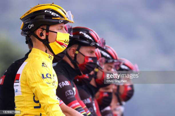 Tadej Pogačar of Slovenia and UAE-Team Emirates yellow leader jersey at start during the 108th Tour de France 2021, Stage 9 a 144,9km stage from...