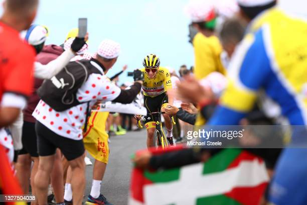 Tadej Pogačar of Slovenia and UAE-Team Emirates yellow leader jersey during the 108th Tour de France 2021, Stage 11 a 198,9km km stage from Sorgues...