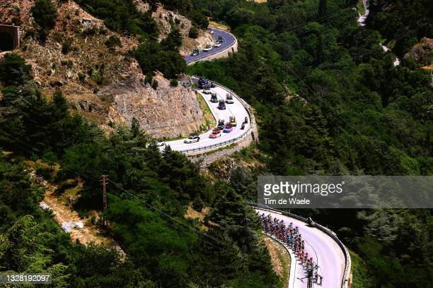 Tadej Pogačar of Slovenia and UAE-Team Emirates yellow leader jersey & The peloton during the 108th Tour de France 2021, Stage 15 a 191,3km stage...
