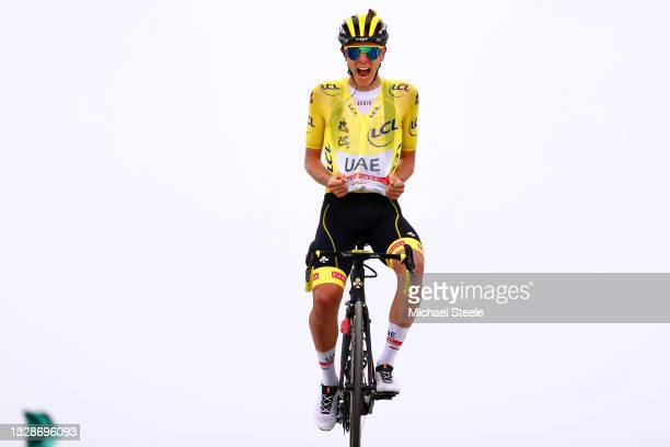 Tadej Pogačar of Slovenia and UAE-Team Emirates Yellow Leader Jersey celebrates at arrival during the 108th Tour de France 2021, Stage 17 a 178,4km...