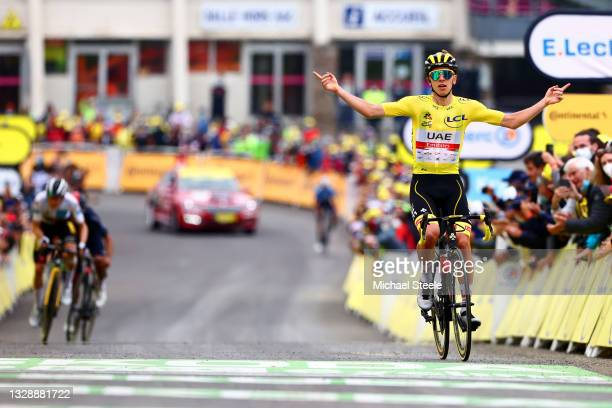 Tadej Pogačar of Slovenia and UAE-Team Emirates Yellow Leader Jersey celebrates at arrival during the 108th Tour de France 2021, Stage 18 a 129,7km...