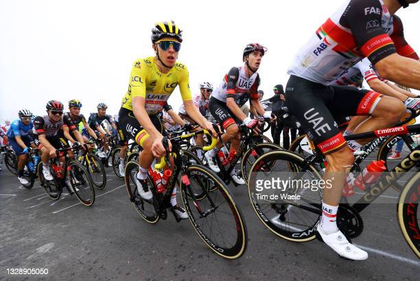 Tadej Pogačar of Slovenia and UAE-Team Emirates Yellow Leader Jersey and Teammates during the 108th Tour de France 2021, Stage 18 a 129,7km stage...