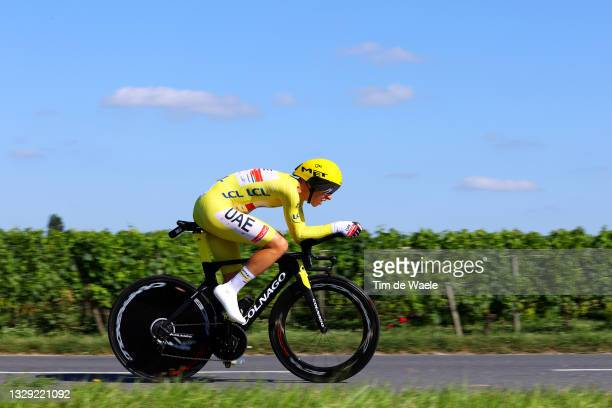 Tadej Pogačar of Slovenia and UAE-Team Emirates yellow leader jersey during the 108th Tour de France 2021, Stage 20 a 30,8km Individual Time Trial...