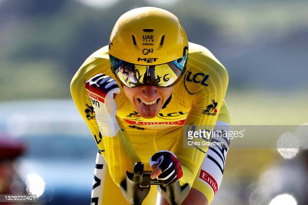 Tadej Pogačar of Slovenia and UAE-Team Emirates yellow leader jersey celebrates at arrival during the 108th Tour de France 2021, Stage 20 a 30,8km...