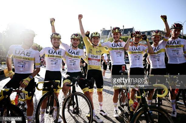 Tadej Pogačar of Slovenia Yellow Leader Jersey, Mikkel Bjerg of Denmark, Rui Costa of Portugal, Davide Formolo of Italy, Marc Hirschi of Switzerland,...