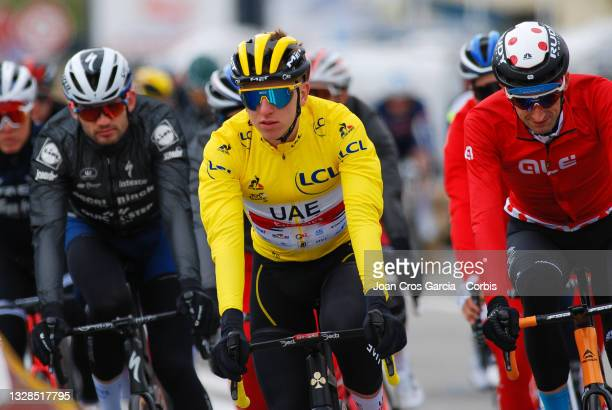 Tadej Pogacar, from UAE Team Emirates, wearing the yellow vest during the 108th Tour de France 2021, Stage 16 a 2 km stage from Pas de la Case to...