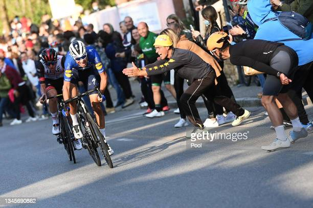 Tadej Pogacar of Slovenia and UAE Team Emirates and Fausto Masnada of Italy and Team Deceuninck - Quick-Step compete in the breakaway while fans...