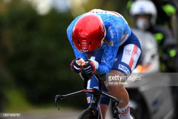 Tadej Pogacar of Slovenia and UAE Team Emirates Blue Leader Jersey during the 56th Tirreno-Adriatico 2021, Stage 7 a 10,1km Individual Time Trial...