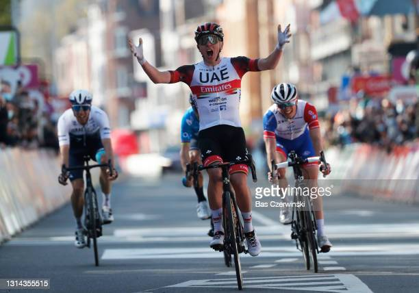 Tadej Pogacar of Slovenia and UAE Team Emirates celebrates at arrival during the 107th Liege - Bastogne - Liege 2021, Men's Elite a 259,5km race from...