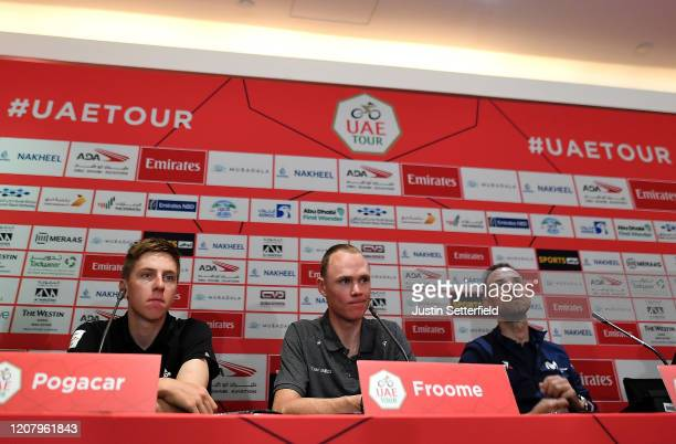 Tadej Pogacar of Slovenia and UAE Team Emirates / Chris Froome of The United Kingdom and Team INEOS / Alejandro Valverde of Spain and Movistar Team /...