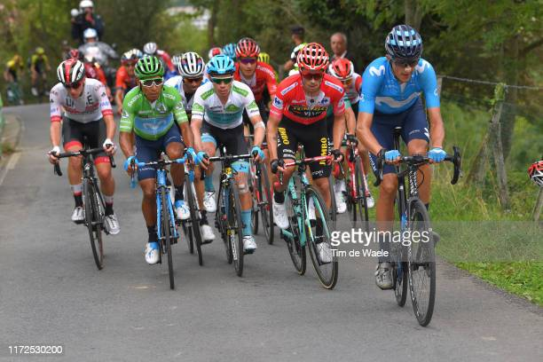 Tadej Pogacar of Slovenia and UAE Team Emirates / Nairo Quintana of Colombia and Movistar Team Green Points Jersey / Miguel Angel Lopez of Colombia...