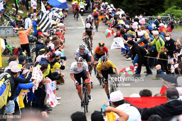 Tadej Pogacar of Slovenia and UAE Team Emirates / Primoz Roglic of Slovenia and Team Jumbo - Visma / Egan Arley Bernal Gomez of Colombia and Team...