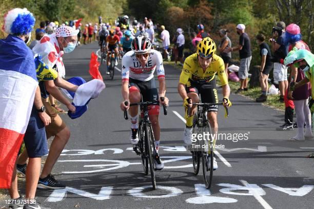 Tadej Pogacar of Slovenia and UAE Team Emirates / Primoz Roglic of Slovenia and Team Jumbo - Visma Yellow Leader Jersey / Pas de Peyrol-Le Puy Mary...