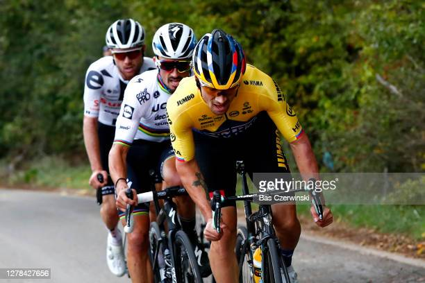 Tadej Pogacar of Slovenia and UAE Team Emirates / Primoz Roglic of Slovenia and Team Jumbo-Visma / Marc Hirschi of Switzerland Team Sunweb / Julian...