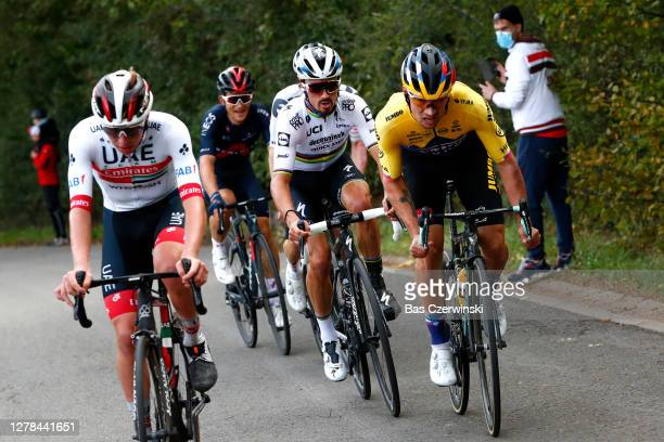 Tadej Pogacar of Slovenia and UAE Team Emirates / Primoz Roglic of Slovenia and Team Jumbo-Visma / Marc Hirschi of Switzerland Team Sunweb / Michal...