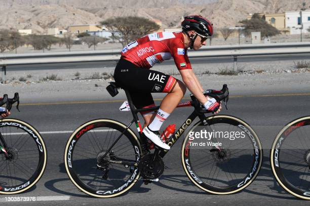 Tadej Pogacar of Slovenia and UAE Team Emirates Red Leader Jersey during the 3rd UAE Tour 2021, Stage 4 a 204km stage from Al Marjan Island to Al...