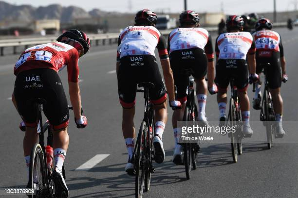 Tadej Pogacar of Slovenia and UAE Team Emirates Red Leader Jersey & Teammates during the 3rd UAE Tour 2021, Stage 4 a 204km stage from Al Marjan...