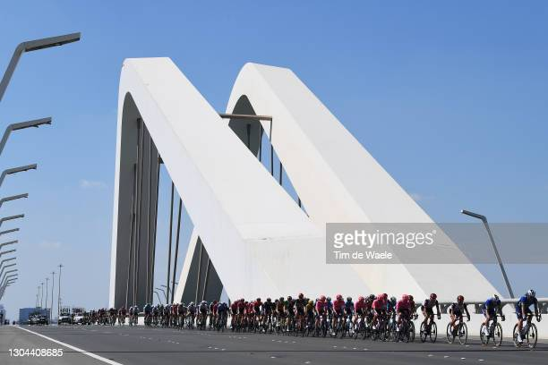Tadej Pogacar of Slovenia and UAE Team Emirates Red Leader Jersey & The peloton during the 3rd UAE Tour 2021, Stage 7 a 147km stage from Yas Mall to...