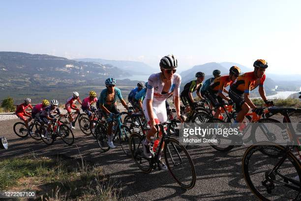 Tadej Pogacar of Slovenia and UAE Team Emirates White Best Young Rider Jersey /Peloton / during the 107th Tour de France 2020, Stage 15 a 174,5km...
