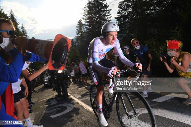 Tadej Pogacar of Slovenia and UAE Team Emirates White Best Young Rider Jersey / Fans / Public / during the 107th Tour de France 2020, Stage 20 a...
