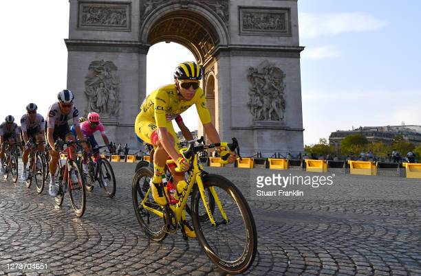 Tadej Pogacar of Slovenia and UAE Team Emirates Yellow Leader Jersey / Arc De Triomphe / Paris City / Landscape / Peloton / during the 107th Tour de...