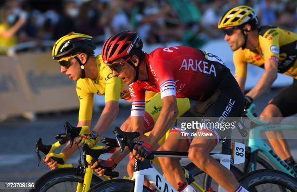 Tadej Pogacar of Slovenia and UAE Team Emirates Yellow Leader Jersey / Warren Barguil of France and Team Arkea - Samsic / during the 107th Tour de...