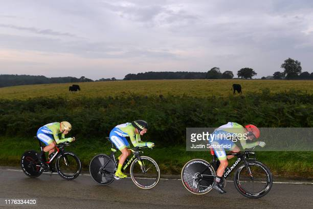 Tadej Pogacar of Slovenia / Jaka Primozic of Slovenia / Jan Tratnik of Slovenia / during the 92nd UCI Road World Championships 2019, Team Time Trial...