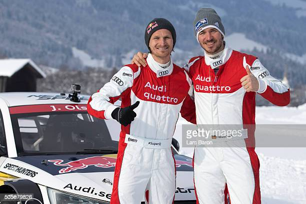 Tadeusz Blazusiak and Felix Neureuther pose for a picture during the final day of the Audi Quattro #SuperQ on January 20 2016 in Kitzbuehel Austria