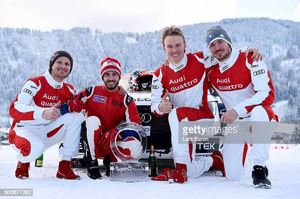 Tadeusz Blazusiak Andrea Dovizioso Henrik Kristoffersen and Felix Neureuther pose after the final day of the Audi Quattro #SuperQ on January 20 2016...