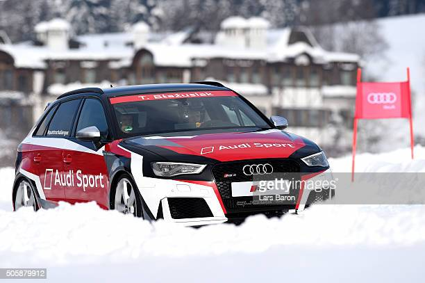 Tadeusz Blazusiak drives during the final day of the Audi Quattro #SuperQ on January 20 2016 in Kitzbuehel Austria