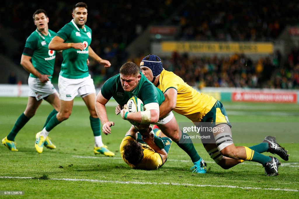 Tadgh Furlong of Ireland scores a try during the International test match between the Australian Wallabies and Ireland at AAMI Park on June 16, 2018 in Melbourne, Australia.
