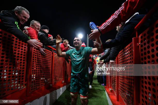 Tadgh Beirne of Munster is congratulated as he leaves pitch after the Champions Cup match between Gloucester Rugby and Munster Rugby at Kingsholm...