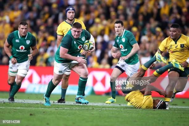 Tadhg Furlong of Ireland bumps off Kurtley Beale of the Wallabies during the International Test match between the Australian Wallabies and Ireland at...