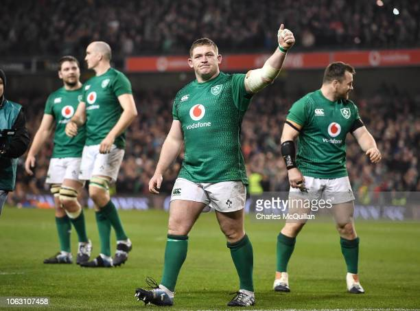 Tadhg Furlong of Ireland celebrates after the International Friendly rugby match between Ireland and New Zealand on November 17 2018 in Dublin Ireland