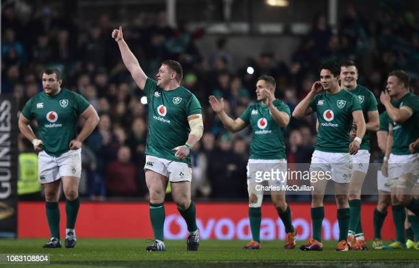 Tadhg Furlong of Ireland celebrates along with team mates after the International Friendly rugby match between Ireland and New Zealand on November 17...