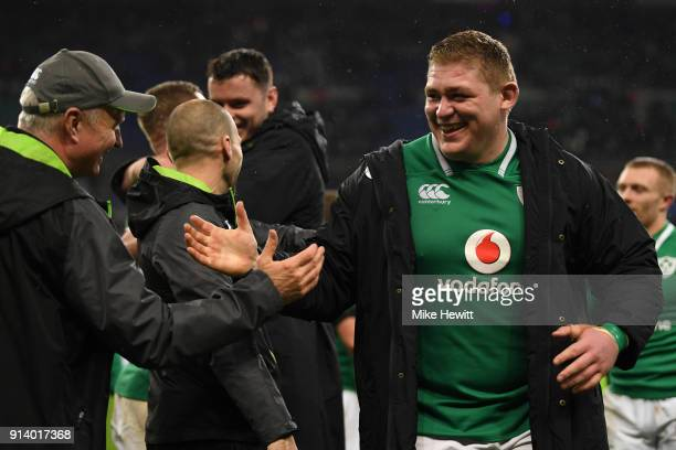 Tadhg Furlong of Ireland celebrates with coach Joel Schmidt at the end of the NatWest Six Nations match between France and Ireland at Stade de France...