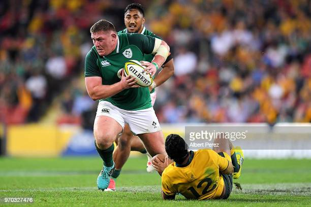 Tadhg Furlong of Ireland evades the tackle from Kurtley Beale of Australia during the International Test match between the Australian Wallabies and...