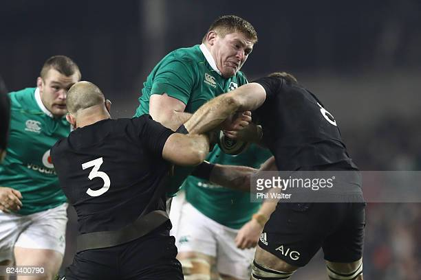 Tadhg Furlong of Ireland is tackled during the international rugby match between Ireland and the New Zealand All Blacks at Aviva Stadium on November...