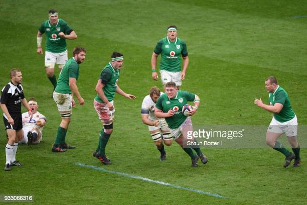 Tadhg Furlong of Ireland on the charge during the NatWest Six Nations match between England and Ireland at Twickenham Stadium on March 17 2018 in...